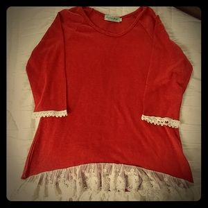 Rust colored lace trimmed top
